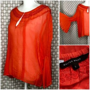 WALTER BAKER Peplum Sleeve Blouse Top Orange L
